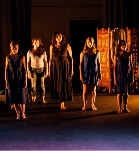 Serafina Salvador, Angela Bull, Kandy C. Rohmann, Georgina Panton, and Rachel Handshaw in The Helen Project at the Face to Face Festival. Photo by Stuart Window.